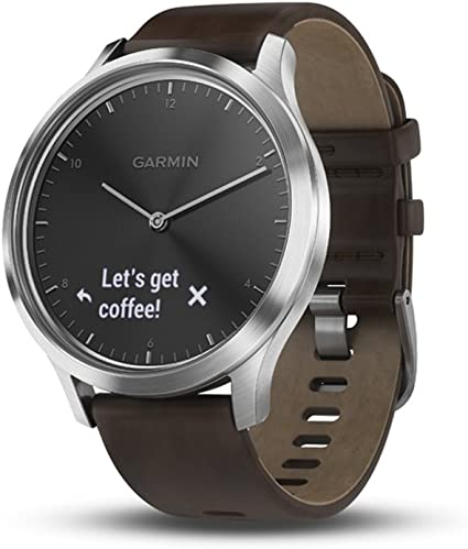 Garmin vívomove HR, Hybrid Smartwatch for Men and Women, Black/Silver with Leather Band, Large
