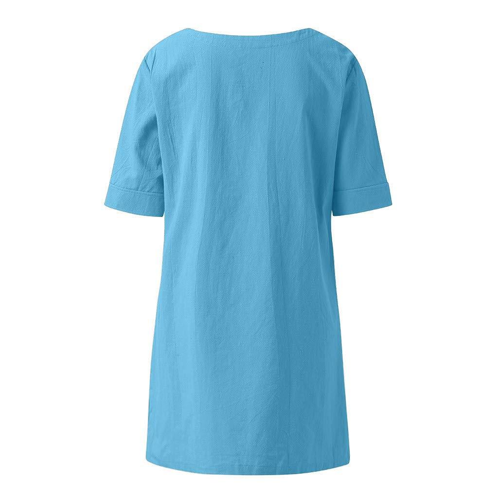 Summer Tops for Women 2019 New,Chaofanjiancai Cross Design Half Sleeve Cotton Linen T-Shirt Casual Plus Size Blouses