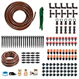 "KORAM OT-D 50 Feet Blank Distribution Tubing Hose Plant Watering Irrigation Drip Kit Accessories Include Atomizing Nozzle Mister Dripper, 1/2"" 1/4"" Tubing and Fittings"