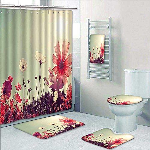 VROSELV 5 Piece Bathroom Set Includes Shower Curtain Liner Futuristic Unusual Design With