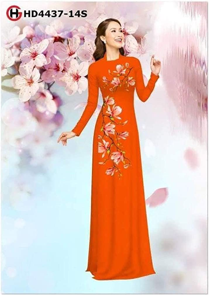 Silk 3D ADVN0405202150 Traditional Vietnamese Long Dress Collections with Pants Ao Dai