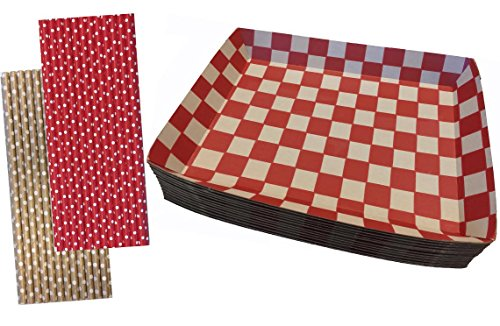 (Checkered Kraft Paper Lunch Trays - Paper Straws - 20 Trays and 50 Straws - Red Kraft Brown)