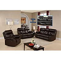 Primo International Discovery Contemporary Motion Reclining Sofa, Dark Brown