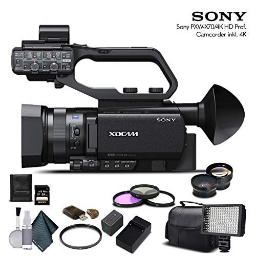 Sony PXW-X70 4K Professional XDCAM Camcorder (PXW-X704K) with 64GB Memory Card, Extra Battery and Charger, UV Filter, LED Light, Case, Telephoto Lens, Wide Angle Lens, and More - Advanced Bundle