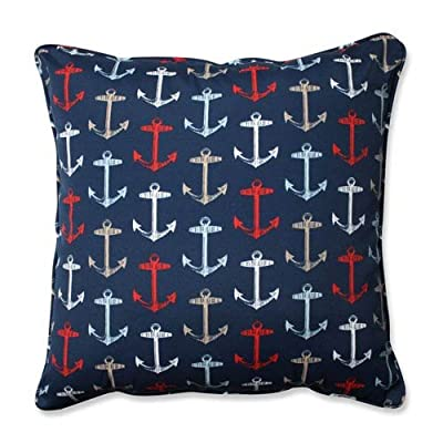 "Pillow Perfect Outdoor/Indoor Anchor Allover Arbor Floor Pillow, 25"", Navy - Includes one (1) outdoor floor pillow, resists weather and fading in sunlight; suitable for indoor and outdoor use Plush Fill - 100-percent polyester fiber filling Edges of outdoor pillows are trimmed with matching fabric and cord to sit perfectly on your outdoor patio furniture - patio, outdoor-throw-pillows, outdoor-decor - 51ZzyFcDdQL. SS400  -"