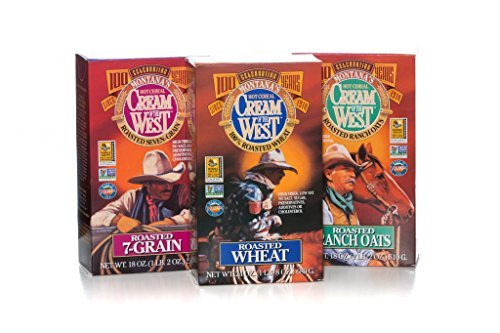Cream of the West All Natural 100% Whole-Grain Hot Cereal Variety Pack: Roasted Wheat (24 oz); Roasted 7-Grain (18 oz); Roasted Thick Oats (18 oz) 3-Pack