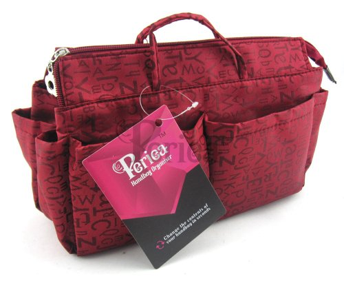 Periea Handbag Organizer - 15 Color Options (Red with Embossed - Pattern Zipper Purse