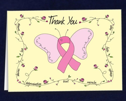 Breast Cancer Awareness Pink Ribbon Note Cards - Butterfly Thank You (1 (Breast Cancer Thank You Cards)