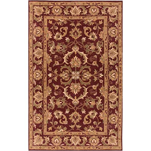 Schuyler Traditional Persian 5' x 8' Rectangle Traditional 100% Wool Burgundy/Butter/Tan/Cream/Camel/Dark Green/Grass Green Area Rug