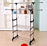 Clothing Rack Adjustable Double Bar Collapsible Wheels Duty Heavy Tier Rack Hanger