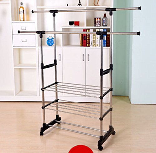 Clothing Rack Adjustable Double Bar Collapsible Wheels Duty Heavy Tier Rack - Punk Indie Clothing
