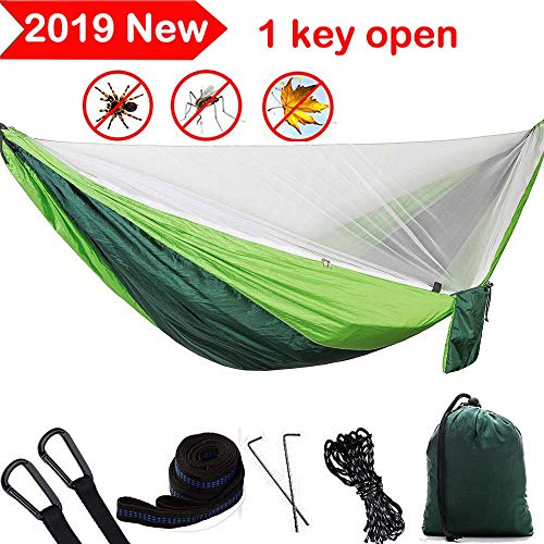 Camping Hammock with Mosquito Net Double Single Hammocks with Trees Straps 118x78 inch Hold up 1200...