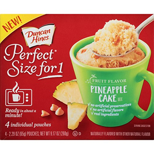 Duncan Hines Perfect Size for 1 Mug Cake Mix, Ready in About a Minute, Pineapple Cake, 4 individual pouches Duncan Hines Cookie Mix