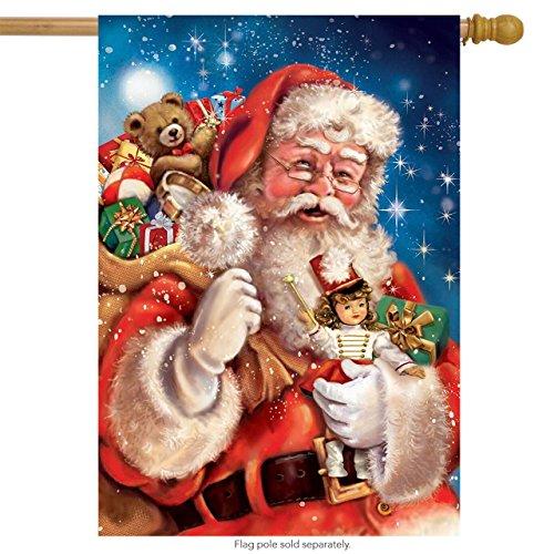 (Santa with Presents Christmas House Flag Holiday Sack of Gifts 28