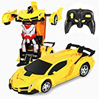 Desuccus Remote Control Car, Transform Robot RC Car for Kids, 2.4Ghz 1:18 Scale Model Racing Car with One-Button...