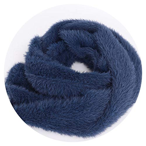 Women's Knitted Scarf Boys Girls Universal Solid Color Scarf Warm Comfortable Autumn Winter,Navy,Children