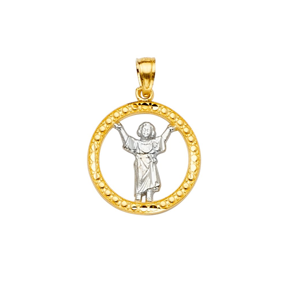 Size : 22 x 16 mm GoldenMine 14k Two Tone Gold Baby Jesus Pendant