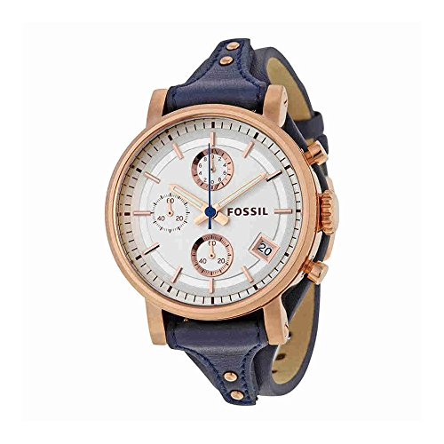 Ladies Stainless Steel Chronograph - Fossil Women's Original Boyfriend Quartz Stainless Steel and Leather Chronograph Watch, Color: Rose Gold-Tone, Blue (Model: ES3838)