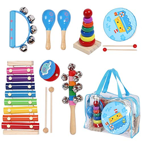 Kids Musical Instruments Sets, 12pcs Wooden Percussion Instruments Toys Tambourine Xylophone for Kids Playing Preschool Education, Early Learning Musical Toys for Boys and Girls Gift with Carry - Drum Set Baby