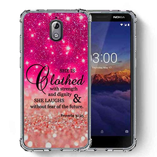 for Nokia 3.1 (2018) Case, SuperbBeast Ultra Slim Thin Protective Case w/Reinforced Corners Vector Floral Flowers Polka Dots [Glitter Pattern]