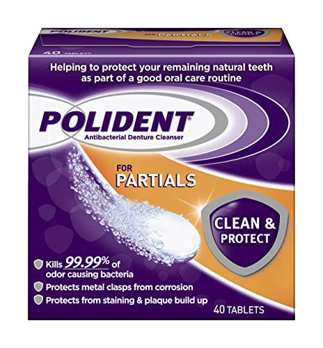 Polident Partials Antibacterial Denture Cleanser Effervescent Tablets, 40 count (Pack of 12) by Polident