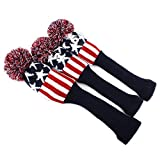 Classic Star Knit Pom Pom Golf Club Vintage Headcover Head Cover 3pcs/set (Red & White)