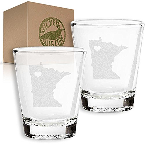 Stickerslug Engraved Minnesota State Love Shot Glasses, 1.5