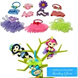 Monkey Glam - 14 Piece Party Pack - Tutu Headband - Dress Up Accessories for Baby Fingerlings Monkeys, Unicorns, Sloths, Pandas