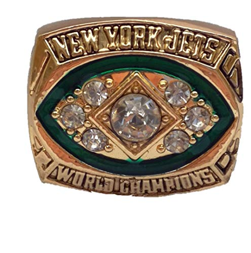 MT-Sports New York Jets 1968 Years Championship Ring Super Bowl Collectible Size 11 Gold Color (Gold Super Bowl Collectibles)