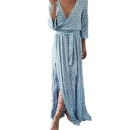 Vestidos Largos Mujer,Modaworld Vestido Maxi Largo Estampado con Cuello en V y