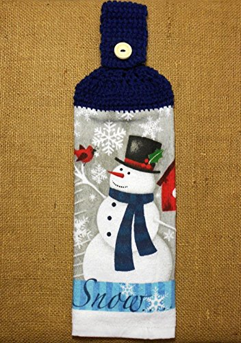 Snowman Hanging Dish Towel Double Sided With A Crochet Top, Winter Kitchen Decor (Snowman Wood Handle)