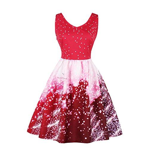 Kleid damen Kolylong®Frauen Vintage Ärmellos Santa Weihnachten Kleid ...