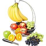 Fruit Basket w/ Removable Banana Hanger & Citrus Fruit Peeler, Discover this New Fruit Bowl and Peeler Bundle Now - Incredible Quality & Value - Elegant Chrome Finish!