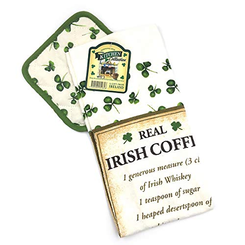 Irish Coffee Recipe Kitchen Towel and Pot Holder