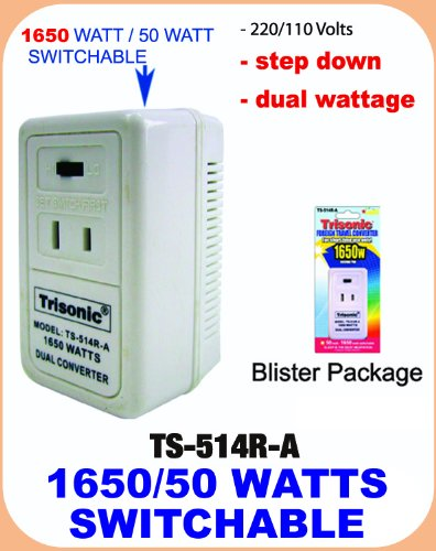 1650 Watt Dual Euro Travel Electric 220/240V -> 110/120V Pow