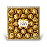 Ferrero Rocher Fine Hazelnut Chocolates, 24 Count, Chocolate Gift Box for Valentines Day Candy, 21.2 oz