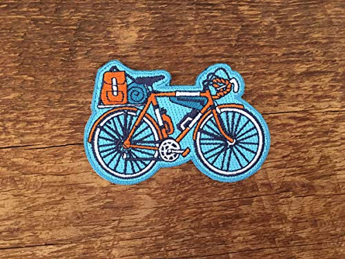 (Bicycle Patch, Explore Patch, Single Embroidered Patch with Iron-on Back )