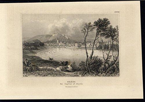 Graz Capital Styria Austria Schlossberg Castle Hill 1858 antique engraved print