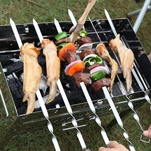 10PCS Barbecue en Acier Inoxydable Needle BBQ Barbecue Plat Brochettes Barbecue Needle Anti-dérapant Poignée Barbecue Cuisine Gadget Panneau Durable
