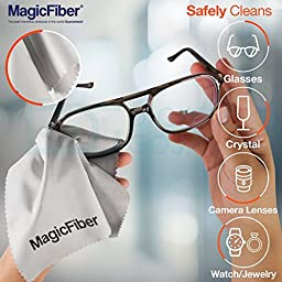 (2 Pack) MagicFiber Microfiber Cleaning Cloths - For All LCD Screens, Tablets, Lenses, and Other Delicate Surfaces (1 Black and 1 Grey 6x7\
