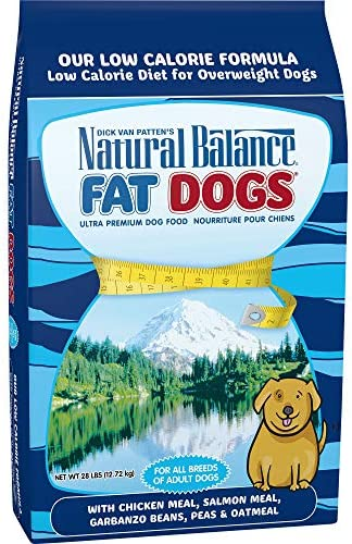 Natural Balance Fat Dogs Low Calorie Dry Dog Food, Chicken Meal, Salmon Meal, Garbanzo Beans, Peas Oatmeal, for Overweight Dogs