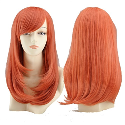 SMUSTY Medium Long Pear Head Anime Cosplay Women Wig for Girls (Orange)    ]()