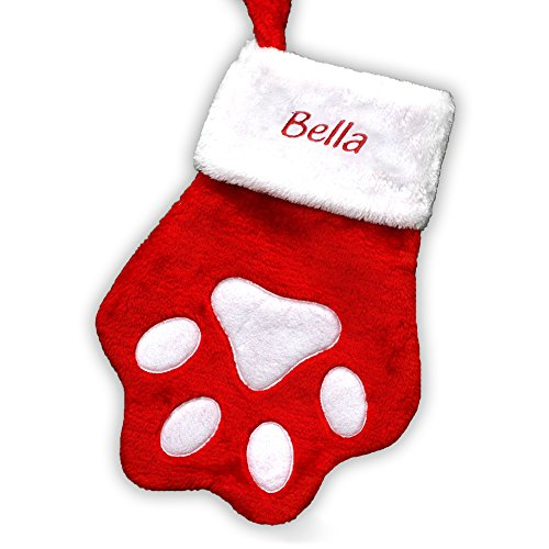 GiftsForYouNow Red Paw Personalized Christmas Stocking, Embroidered Cat Paw Stocking