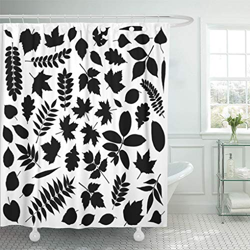Emvency Shower Curtain Tree Black Fall Collection of Leaf Silhouettes White Fern Shower Curtains Sets with Hooks 72 x 72 Inches Waterproof Polyester Fabric ()