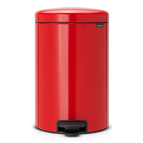 Brabantia Cubo de Basura con Pedal, Acero Inoxidable, Rojo pasión, 20 l