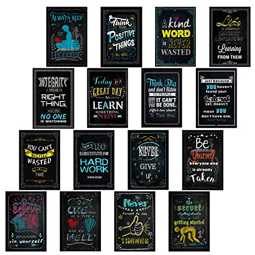 CryptoEdu 16 Laminated Inspirational Classroom Posters-Chalkboard Motivational Quotes for Students Teacher Decorations-(13 x 19 Inches),