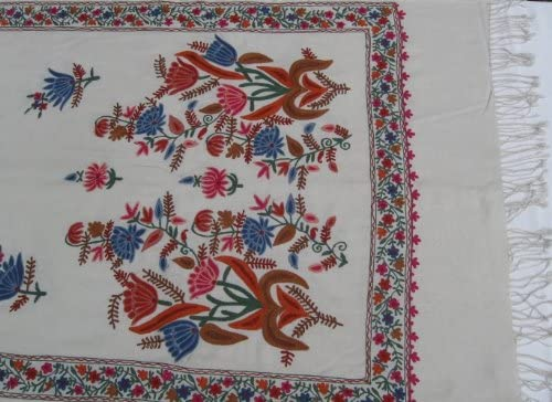 SHAWLS CASHMERE PASHMINA WRAP WITH ALL OVER CREWEL EMBROIDERY SCARF
