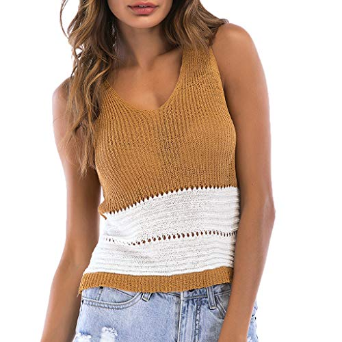 (HIRIRI Sleveless Knit Girls Daily Wear Loose Hollow Out Shirts Blouse Women Sweater Striped Tunic Tank Tops Khaki)