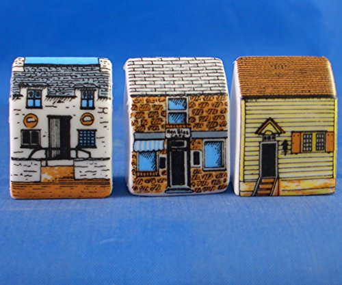 Porcelain China Collectable - Miniature House Thimbles Set of Three - Seaside
