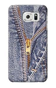 E2194 Jeans Zip Graphic Printed Funda Carcasa Case para Samsung Galaxy S6
